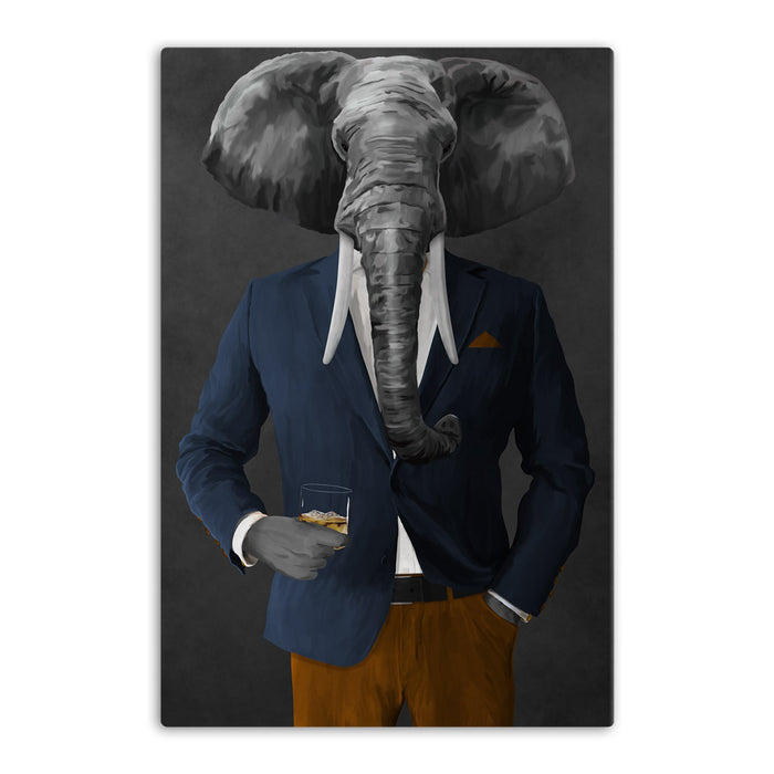 Elephant drinking whiskey wearing navy and orange suit canvas wall art