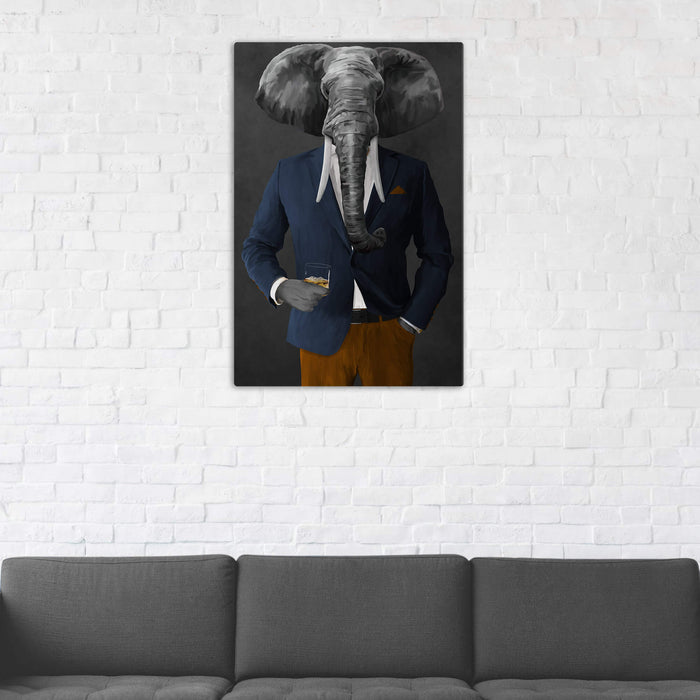 Elephant drinking whiskey wearing navy and orange suit wall art in man cave
