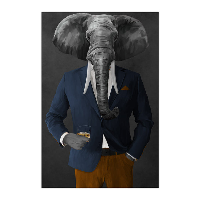 Elephant drinking whiskey wearing navy and orange suit large wall art print