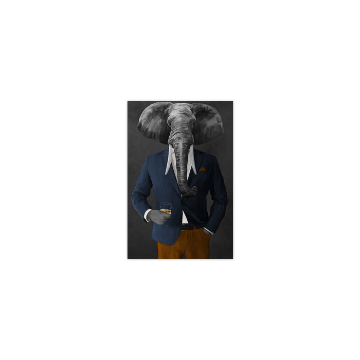 Elephant drinking whiskey wearing navy and orange suit small wall art print