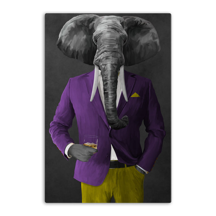Elephant drinking whiskey wearing purple and yellow suit canvas wall art