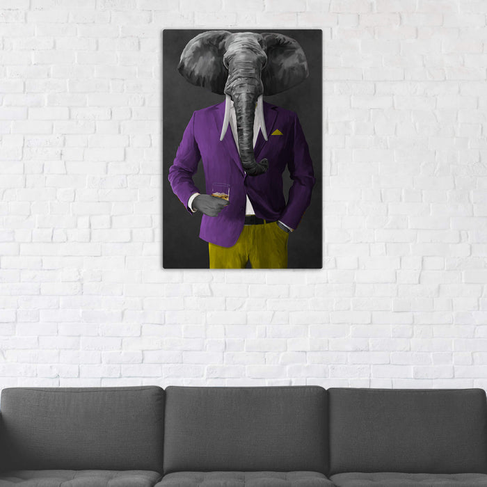Elephant drinking whiskey wearing purple and yellow suit wall art in man cave