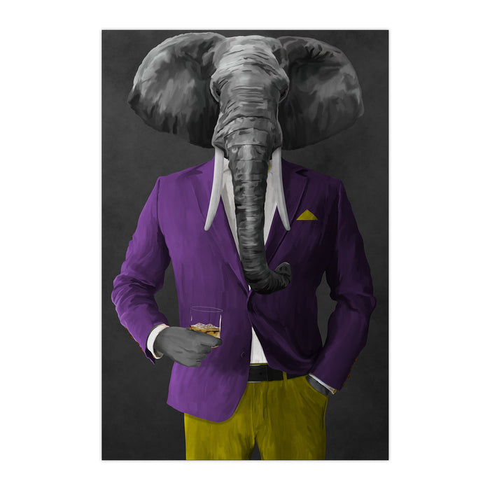 Elephant drinking whiskey wearing purple and yellow suit large wall art print