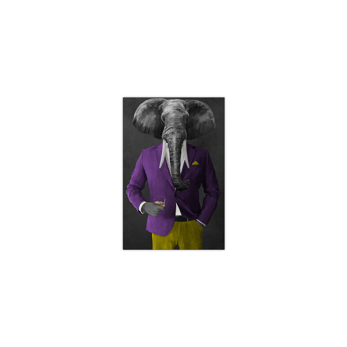 Elephant drinking whiskey wearing purple and yellow suit small wall art print