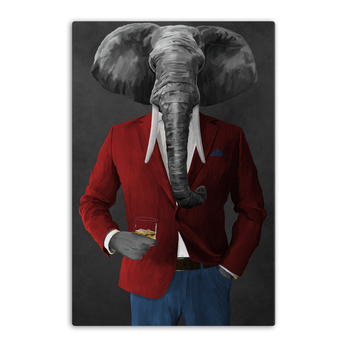 Elephant drinking whiskey wearing red and blue suit canvas wall art