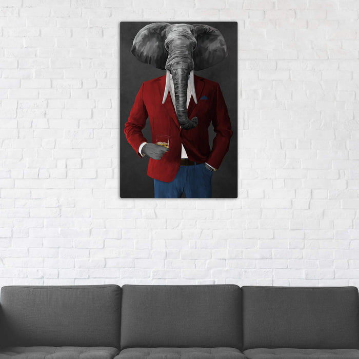 Elephant drinking whiskey wearing red and blue suit wall art in man cave