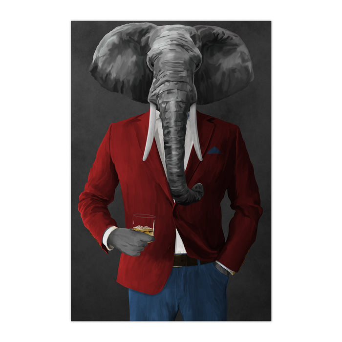 Elephant drinking whiskey wearing red and blue suit large wall art print