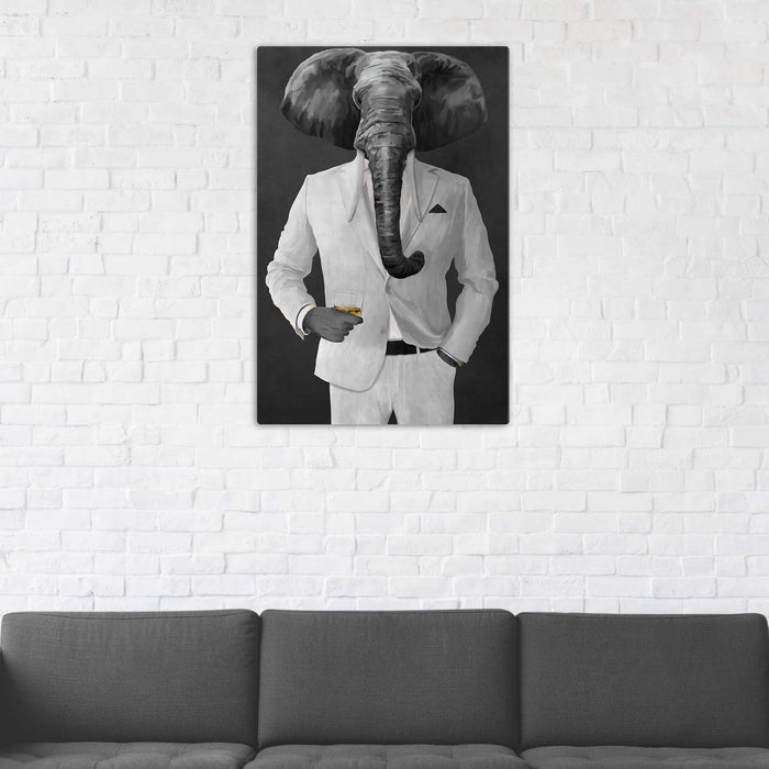 Elephant drinking whiskey wearing white suit wall art in man cave