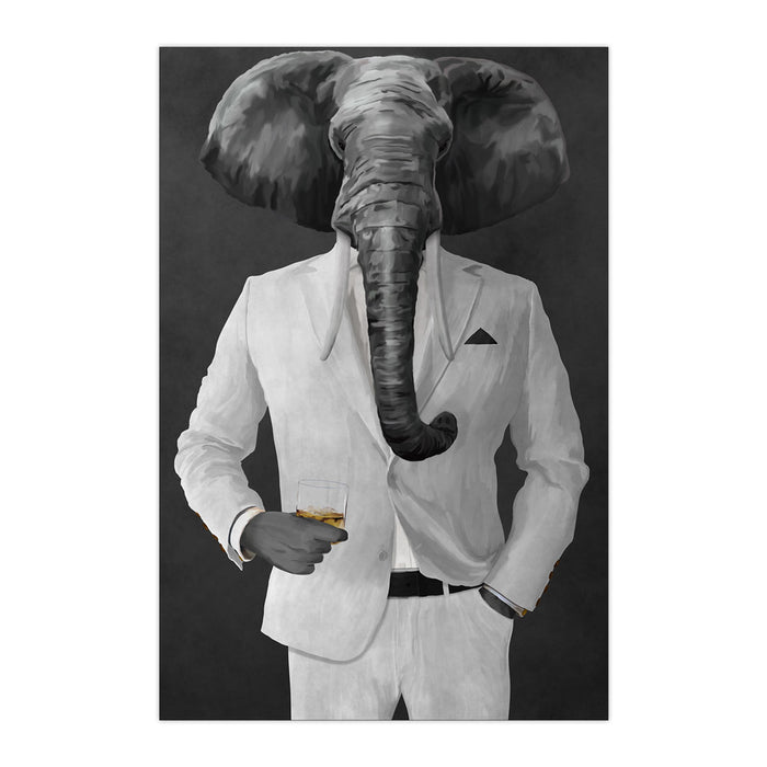 Elephant drinking whiskey wearing white suit large wall art print