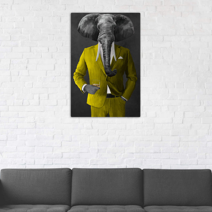Elephant drinking whiskey wearing yellow suit wall art in man cave