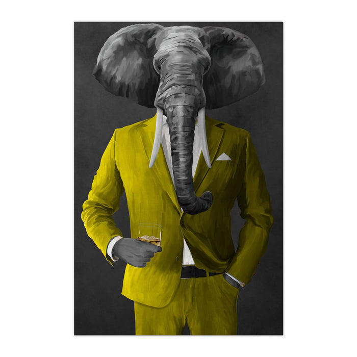 Elephant drinking whiskey wearing yellow suit large wall art print