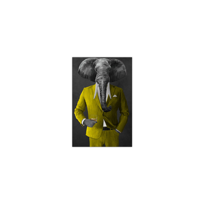 Elephant drinking whiskey wearing yellow suit small wall art print