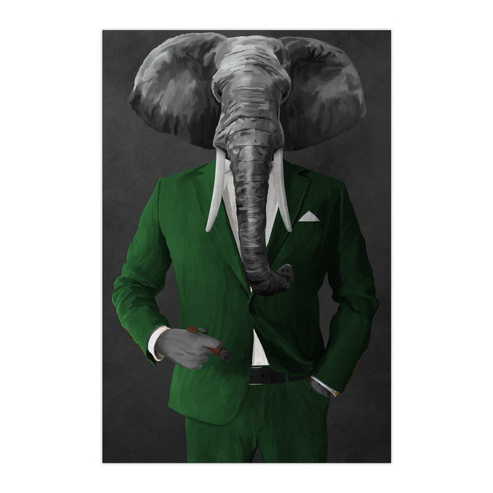 Elephant smoking cigar wearing green suit large wall art print