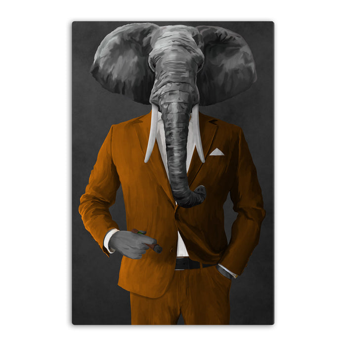 Elephant smoking cigar wearing orange suit canvas wall art