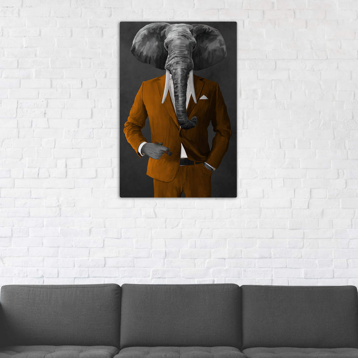 Elephant smoking cigar wearing orange suit wall art in man cave