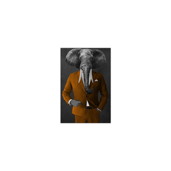 Elephant smoking cigar wearing orange suit small wall art print