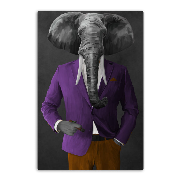 Elephant smoking cigar wearing purple and orange suit canvas wall art