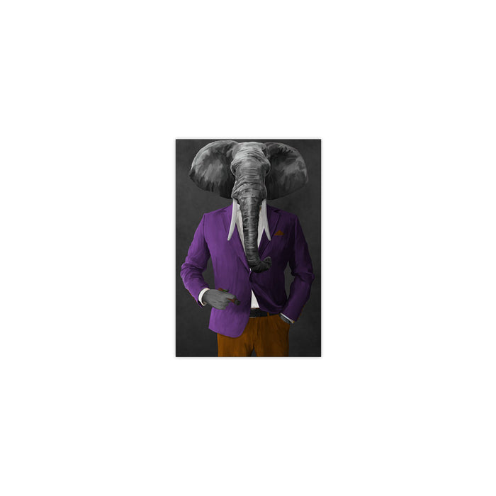 Elephant smoking cigar wearing purple and orange suit small wall art print