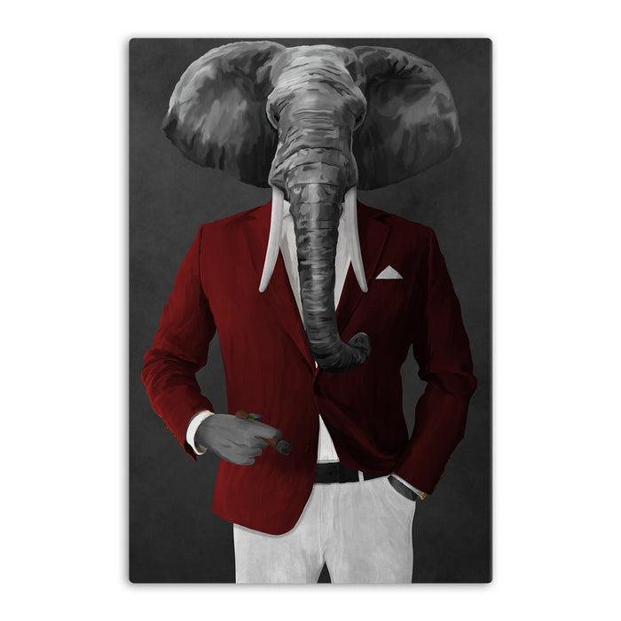 Elephant smoking cigar wearing red and white suit canvas wall art