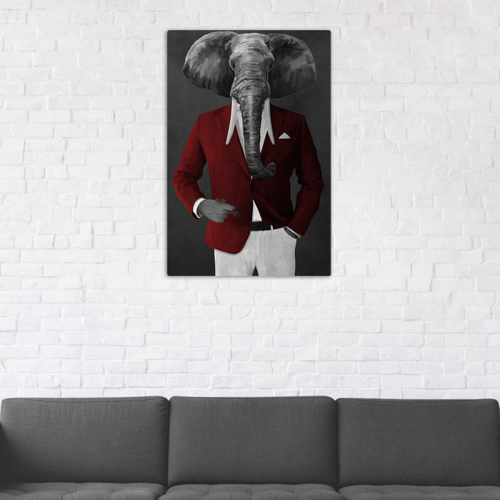 Elephant smoking cigar wearing red and white suit wall art in man cave