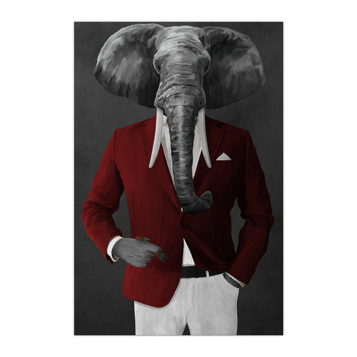 Elephant smoking cigar wearing red and white suit large wall art print