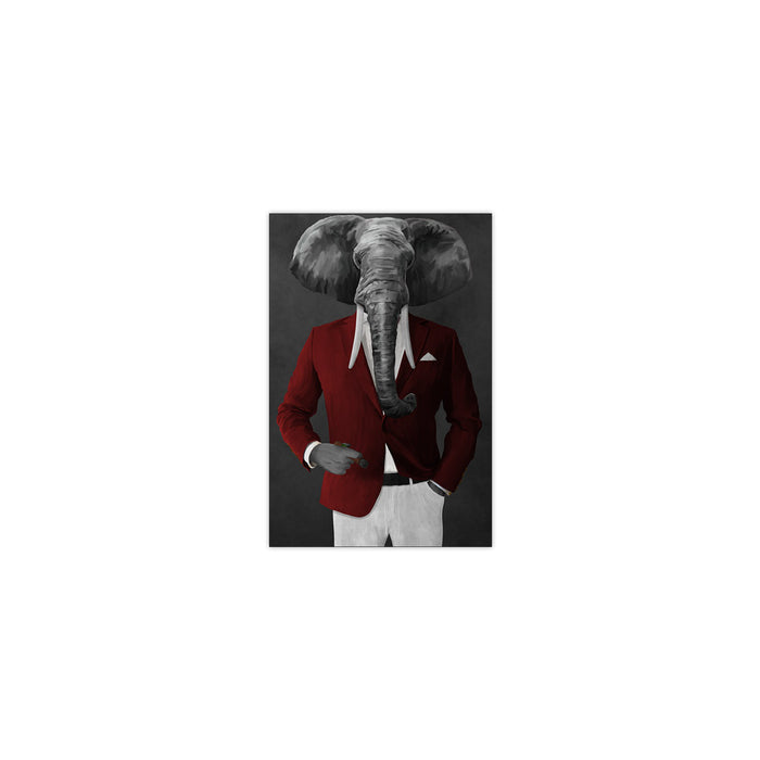 Elephant smoking cigar wearing red and white suit small wall art print