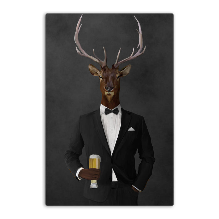 Elk drinking beer wearing black suit canvas wall art