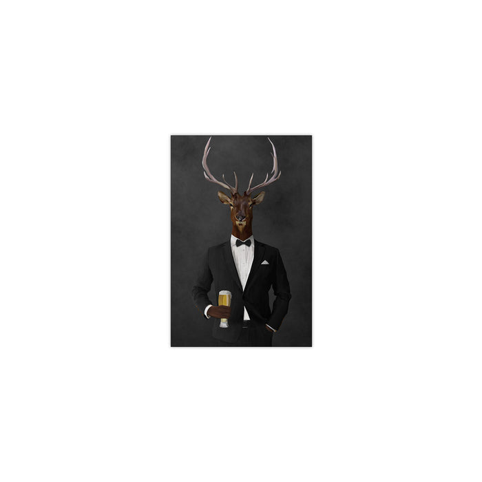 Elk drinking beer wearing black suit small wall art print