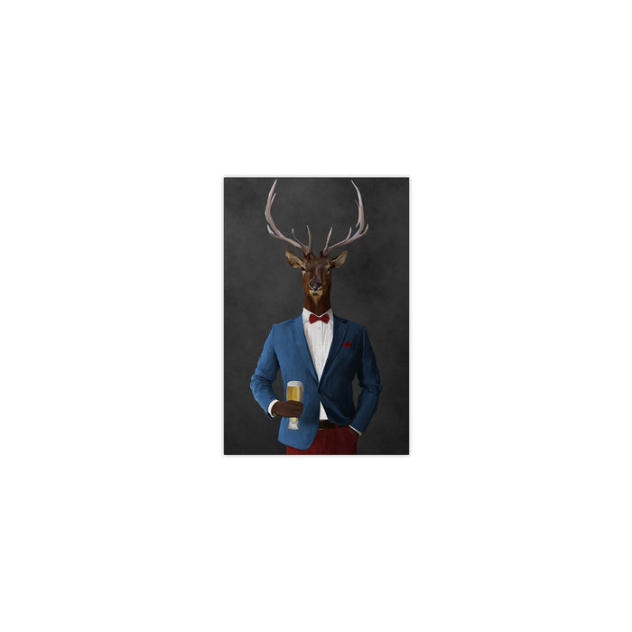 Elk drinking beer wearing blue and red suit small wall art print