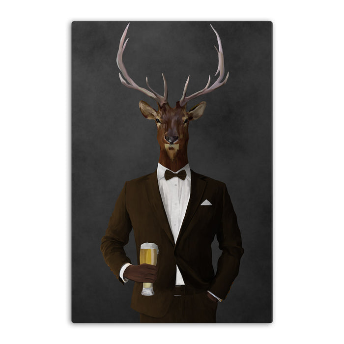 Elk drinking beer wearing brown suit canvas wall art