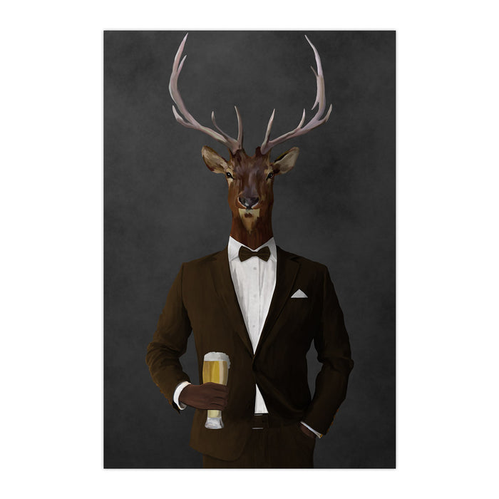 Elk drinking beer wearing brown suit large wall art print