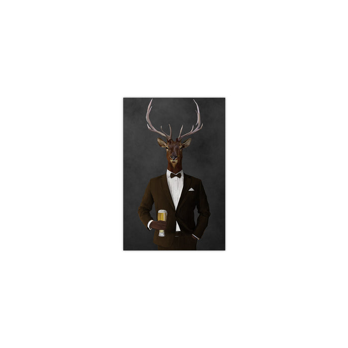 Elk drinking beer wearing brown suit small wall art print