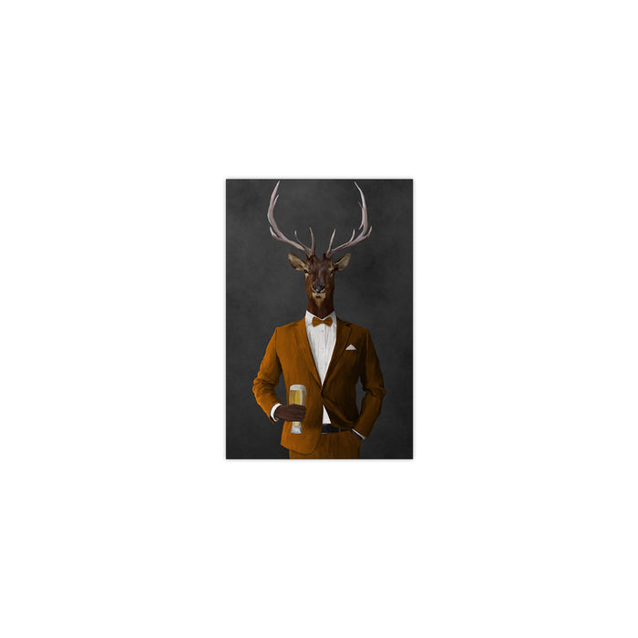 Elk drinking beer wearing orange suit small wall art print