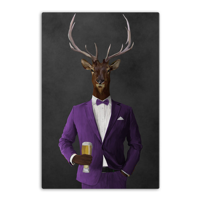 Elk drinking beer wearing purple suit canvas wall art