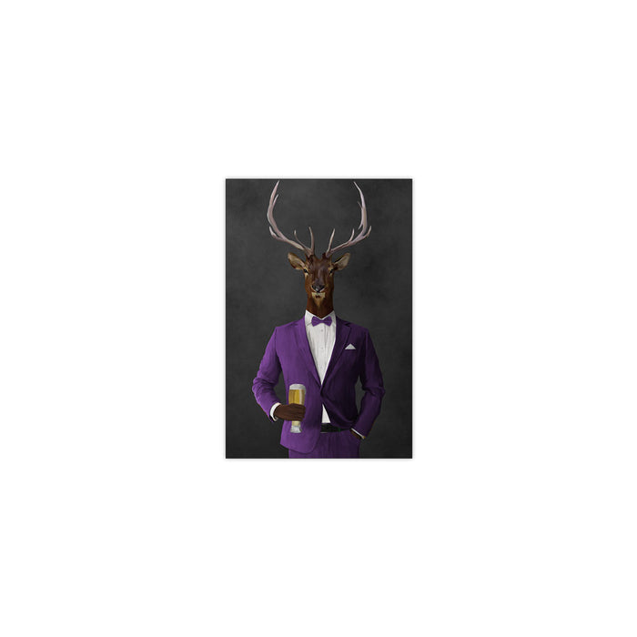 Elk drinking beer wearing purple suit small wall art print