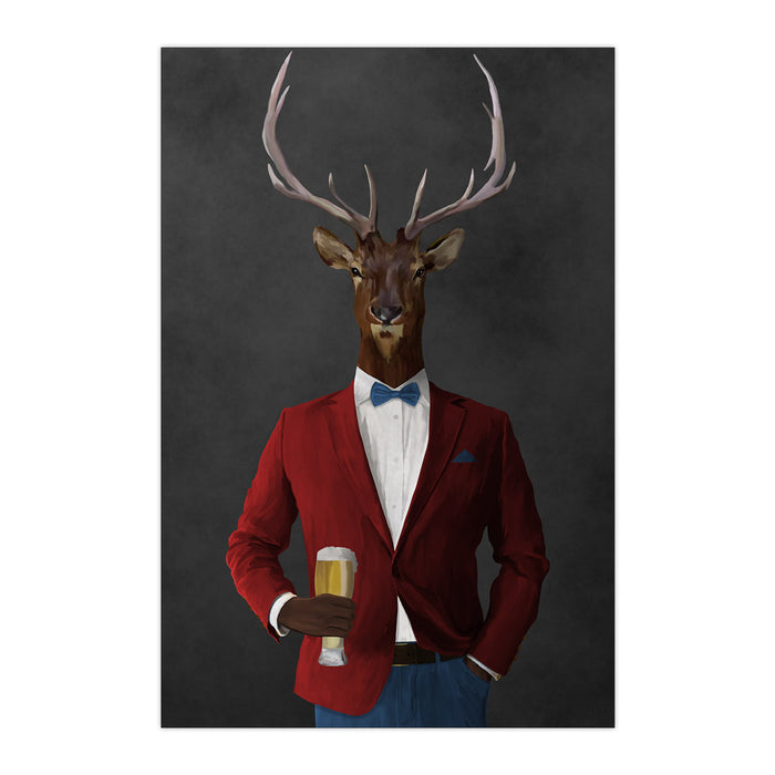 Elk drinking beer wearing red and blue suit large wall art print