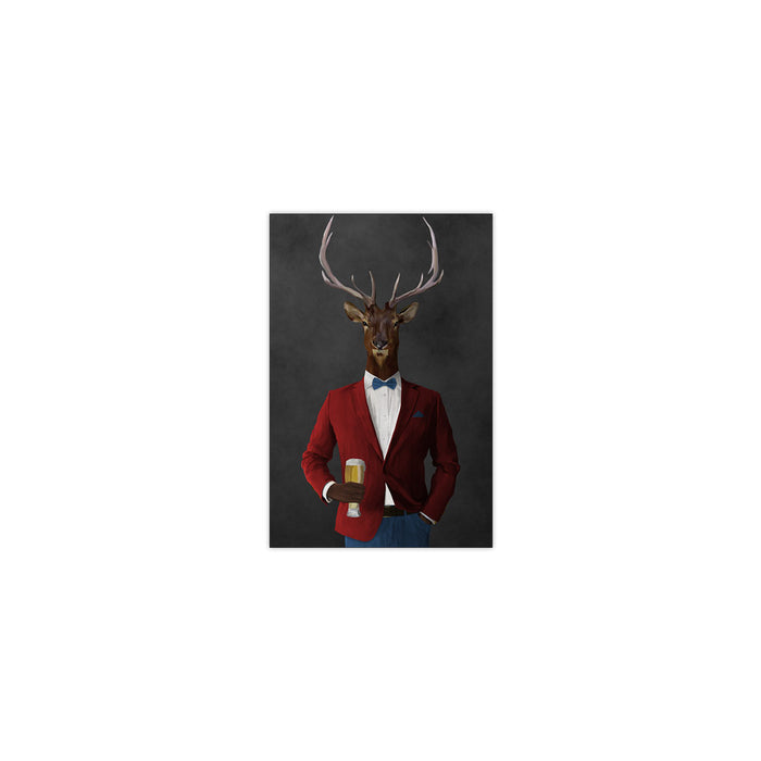 Elk drinking beer wearing red and blue suit small wall art print