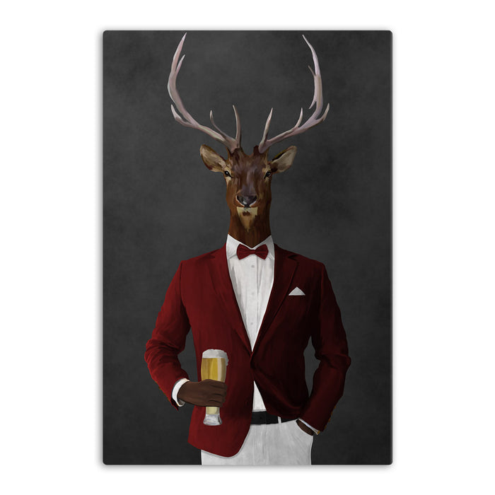 Elk drinking beer wearing red and white suit canvas wall art