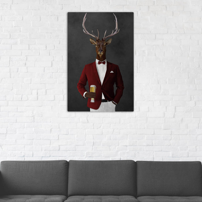 Elk Drinking Beer Wall Art - Red and White Suit