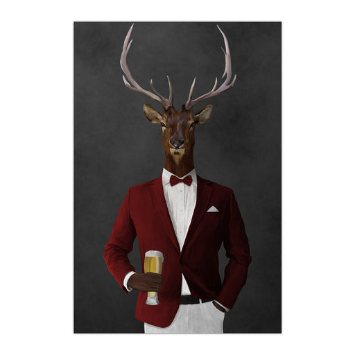 Elk drinking beer wearing red and white suit large wall art print