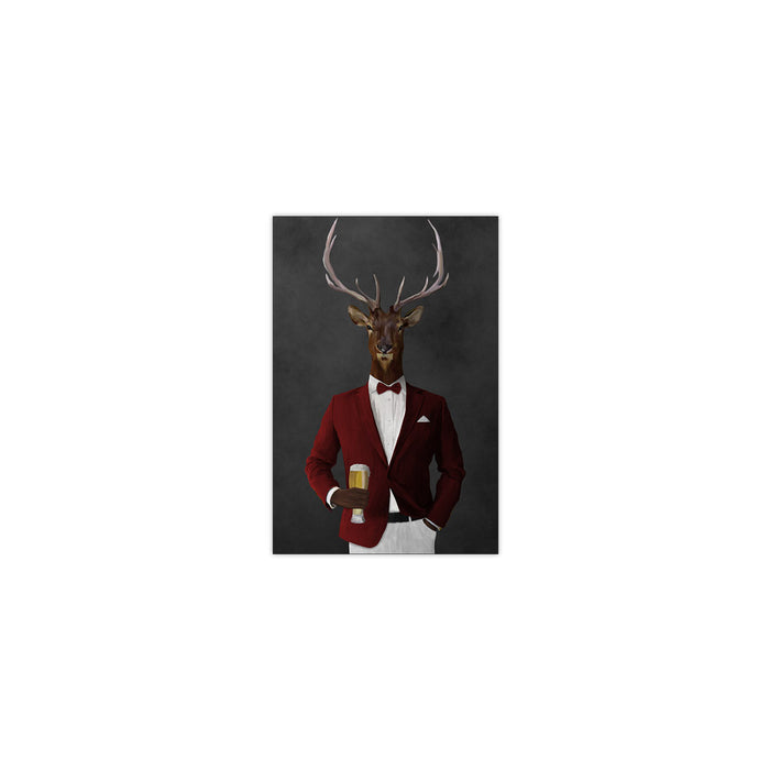 Elk drinking beer wearing red and white suit small wall art print
