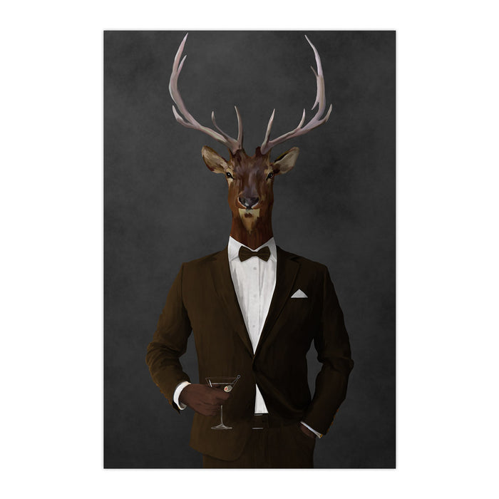Elk drinking martini wearing brown suit large wall art print