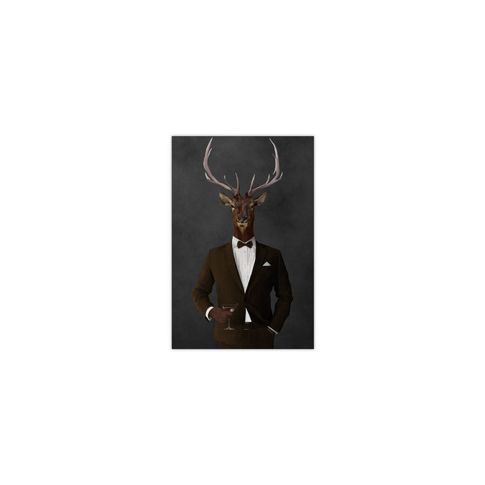 Elk drinking martini wearing brown suit small wall art print