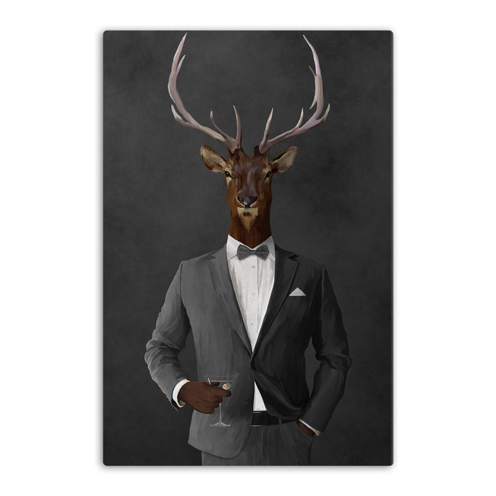 Elk drinking martini wearing gray suit canvas wall art