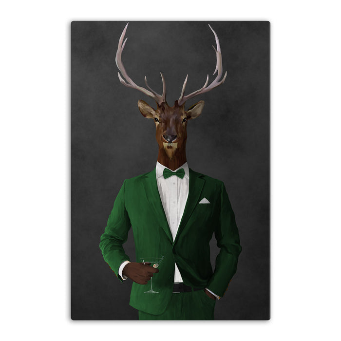 Elk drinking martini wearing green suit canvas wall art