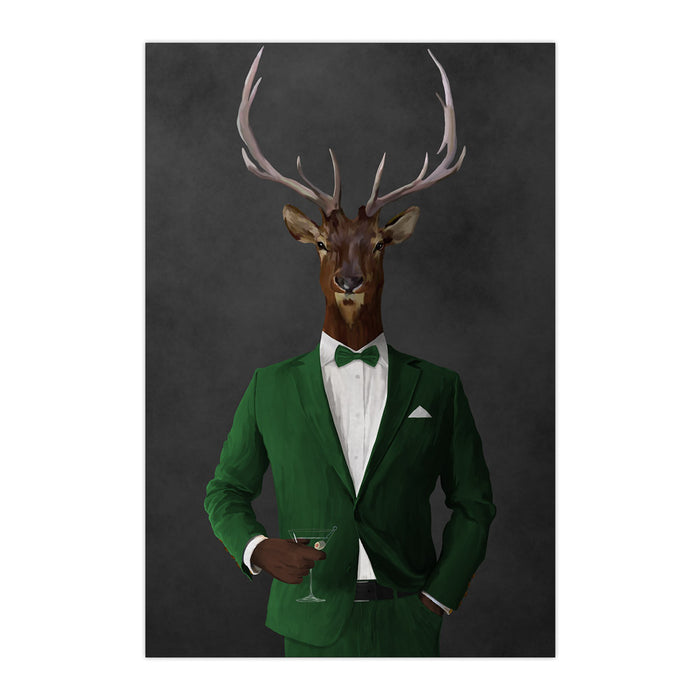 Elk drinking martini wearing green suit large wall art print