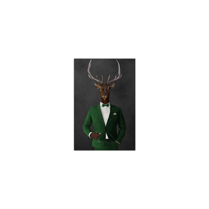 Elk drinking martini wearing green suit small wall art print