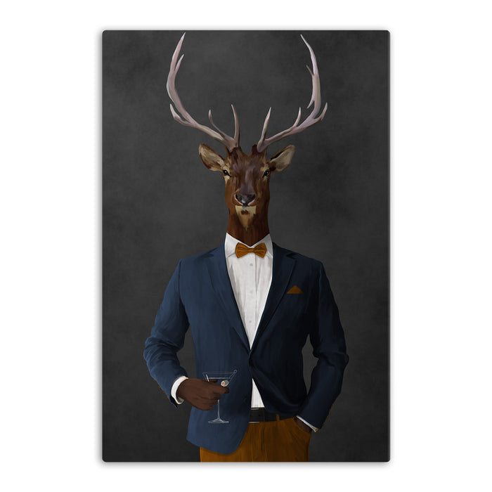 Elk drinking martini wearing navy and orange suit canvas wall art