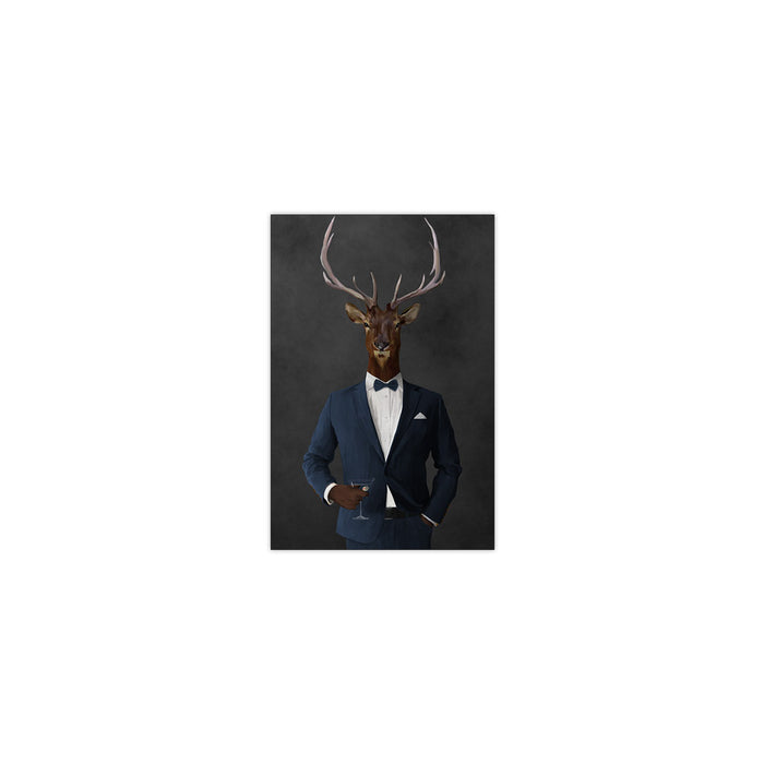 Elk drinking martini wearing navy suit small wall art print