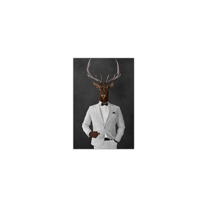 Elk drinking martini wearing white suit small wall art print